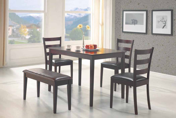 Cappuccino Five-Piece Dining Set With Bench