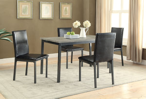 5 Piece Transitional Dining Set Wood and Metal