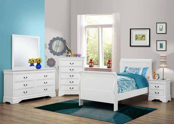 Traditional Youth White Twin Bed