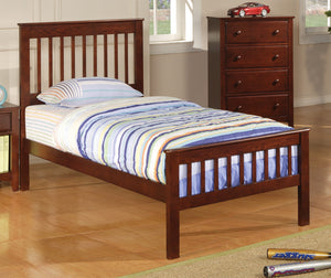 Transitional Chestnut Twin Bed