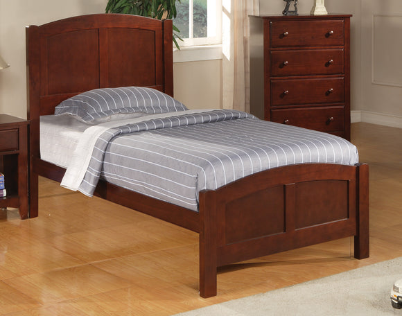 Transitional Chestnut Panel Twin Bed