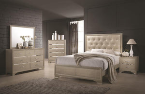 Transitional Champagne Queen Bedroom Set