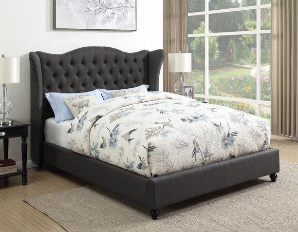 Queen Tufted Charcoal Upholstered Wing Bed