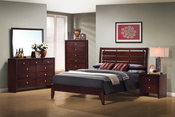 Serenity Queen Bedroom Set in Rich Merlot