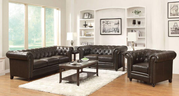 Ultra-plush Brown Bonded Leather Living Room with Rolled Arms and Tufted Seating
