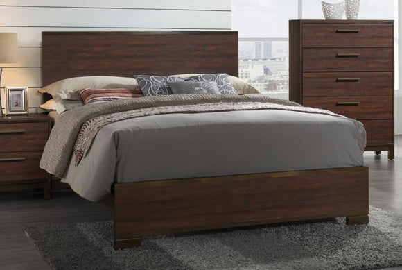 Transitional Rustic Tobacco Queen Bed