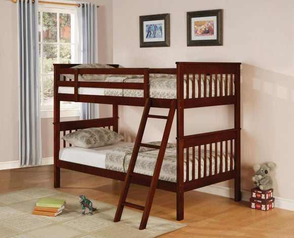 Chestnut and Pine Twin over Twin Bunk Bed