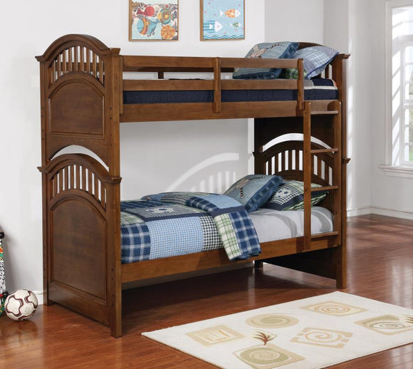 Pine and Walnut Separate or Twin over Twin Bunk Beds
