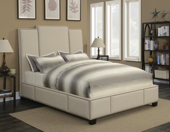 Queen Beige Upholstered Bed with Nailhead Trim
