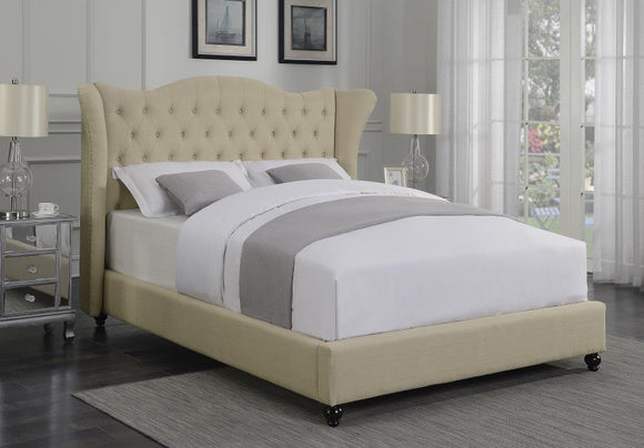 Queen Tufted Beige Upholstered Wing Bed