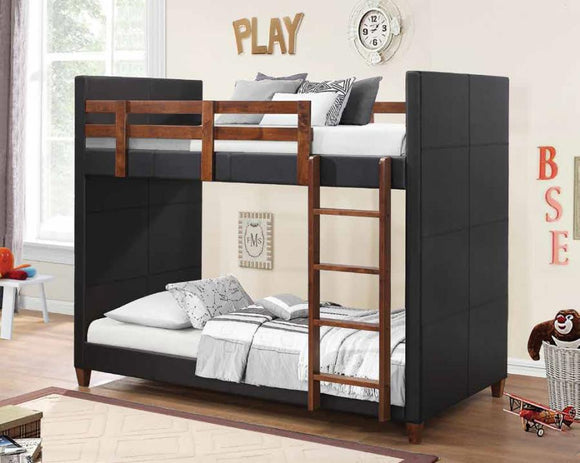 Leather and Nutmeg Twin over Twin Bunk Bed