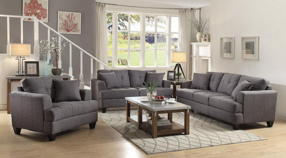 Samuel Transitional Charcoal 3 Piece Living Room Set