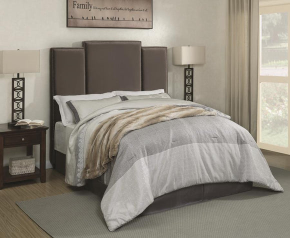 Queen Upholstered Bed with Charcoal Fabric and Nail-head Trim