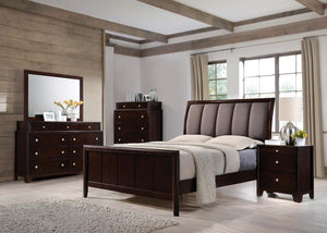 Transitional Dark Merlot And Taupe Grey Queen Bedroom set
