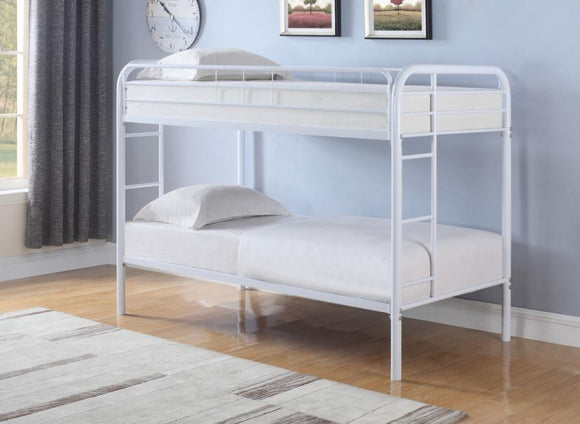 Twin Over Twin Bunk Bed in Black, Silver, or White
