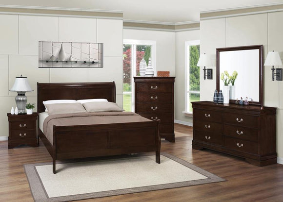 Twin Size Bedroom Set with Sleigh Bed In Cappuccino