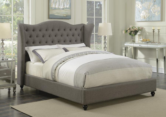 Queen Tufted Grey Upholstered Wing Bed
