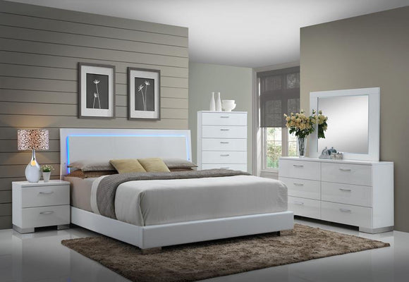 Contemporary Glossy White Lighted King Bed