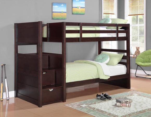 Transitional Cappuccino Twin-Over-Twin Bunk Bed With Storage Stairs