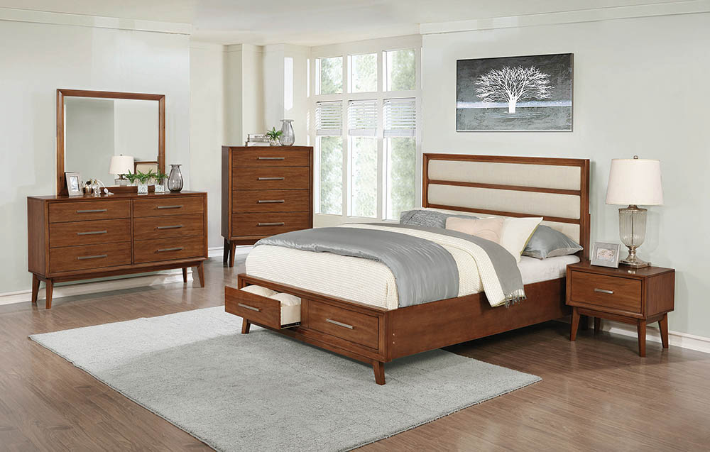 . King Mid Century Modern Bedroom Collection With Storage Bed in Mango