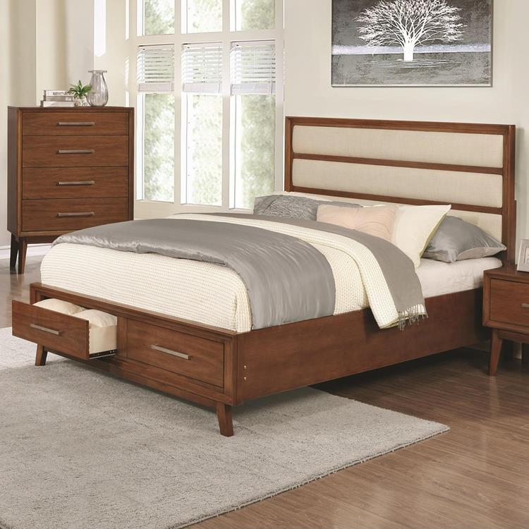 . Queen Mid Century Modern Bedroom Collection With Storage Bed in Mango