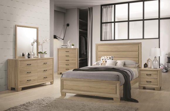 Transitional Whitewashed Oak Queen Bed