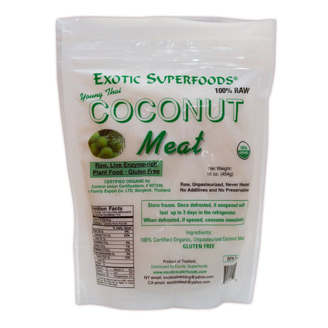 Organic Raw Frozen Young Thai Coconut Meat- 18-1 lb Pouches