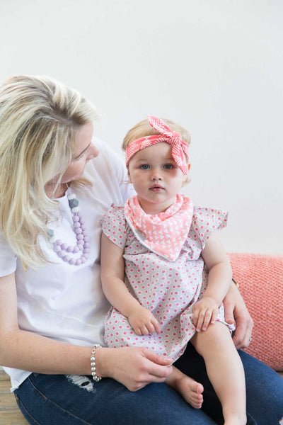 Bandana Bib - Peach Triangle
