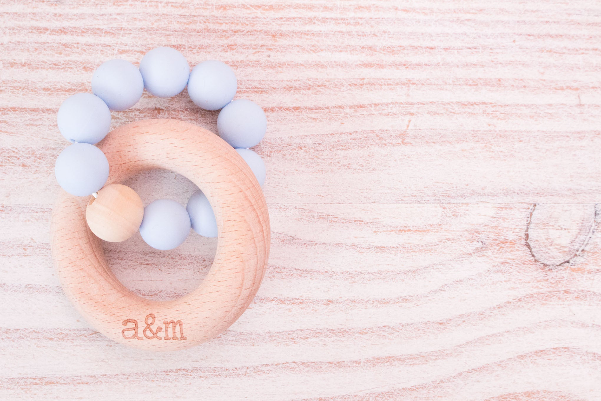 Teething Ring - Soft Blue Beads