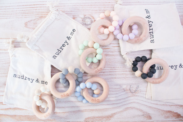 Teething Ring - Soft Coral Beads