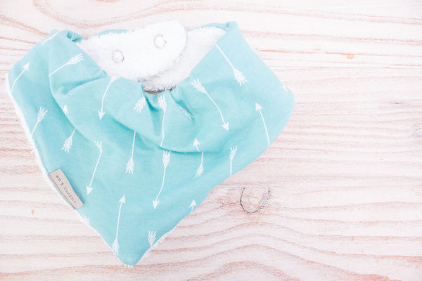 Bandana Bib - Soft Turquoise Arrow