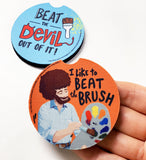 Bob Ross Car Coasters - Beat The Devil - PeachyApricot