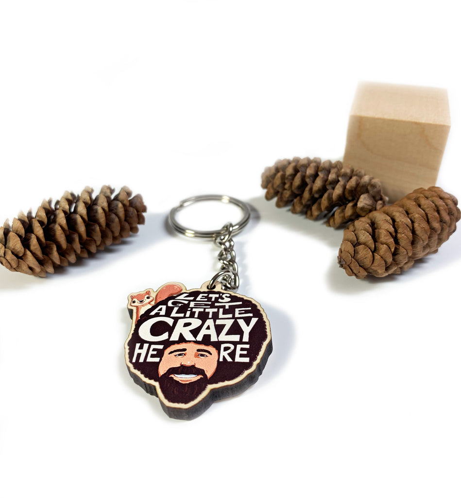 Bob Ross And  Squirrel Keychain