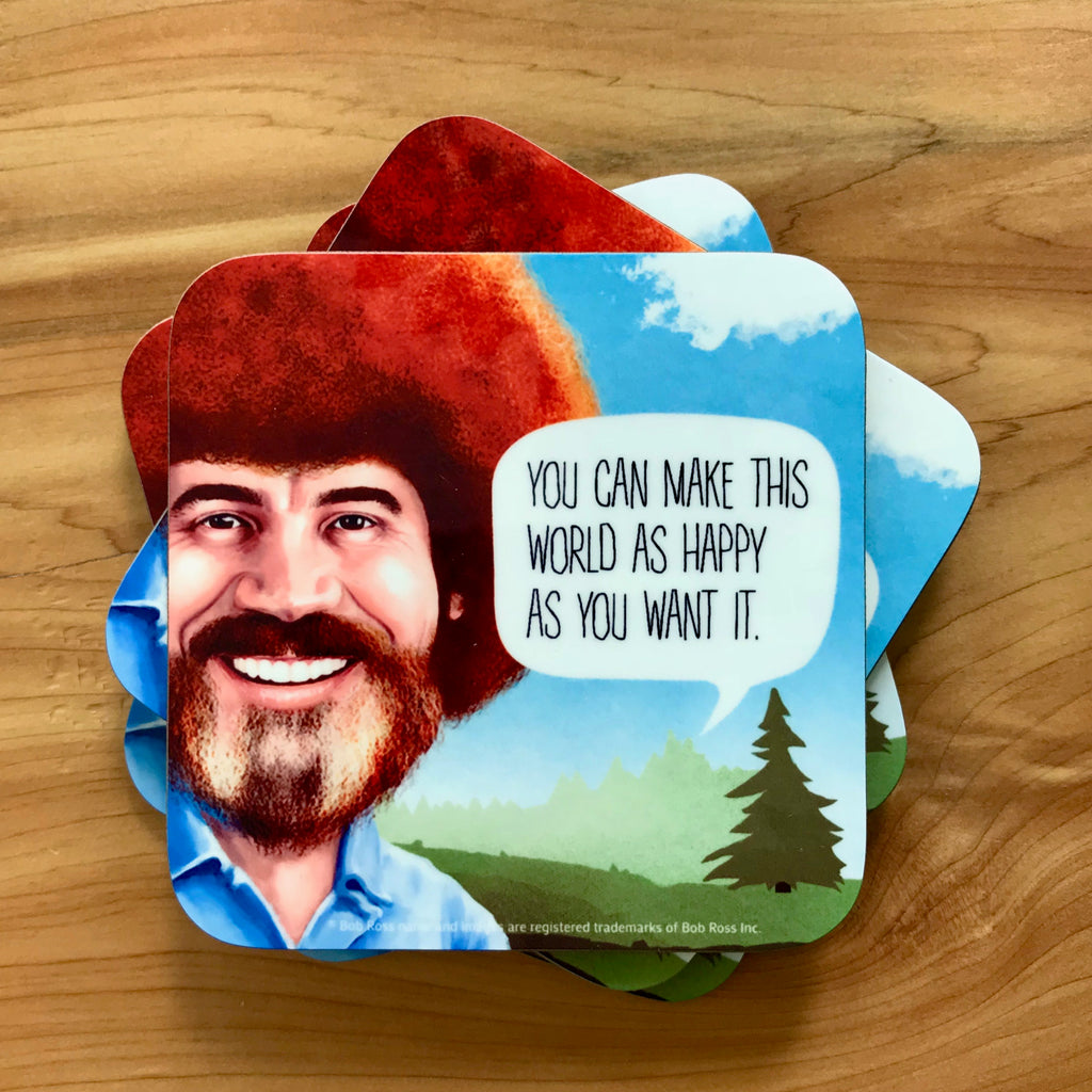 Bob Ross Coasters With Quotes - PeachyApricot