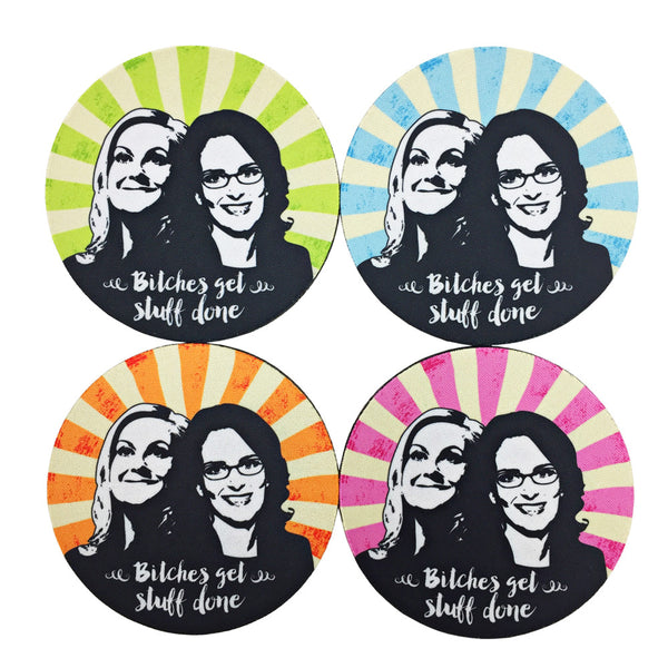 """Bitches Get Stuff Done"" Coaster Set"