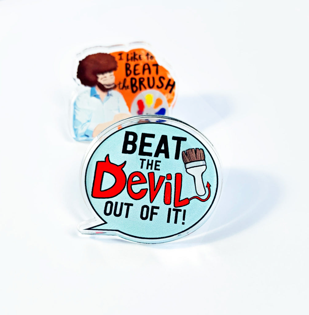 Bob Ross Beat The Devil Pin Set