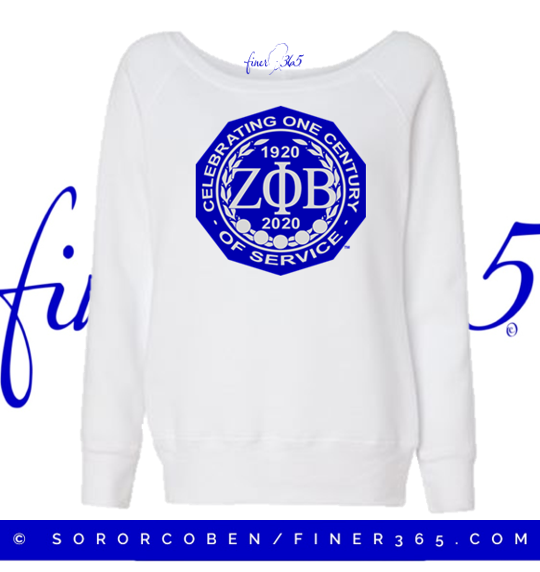 Zeta Centennial White Long Sleeve  Scoop Neck Sweatshirt
