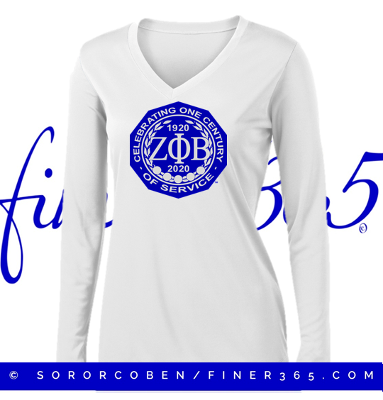 Zeta Centennial White Long Sleeve Shirt