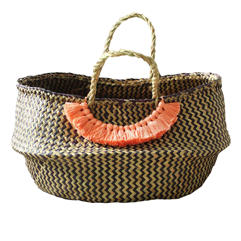 Borneo Basket with Pink Tassels