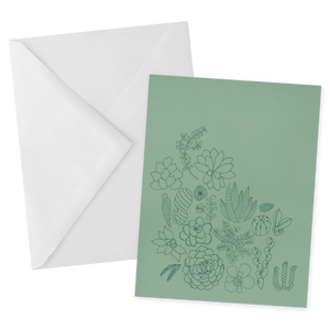 Green Succulents Notecard
