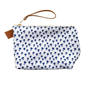 Blue Poppies Small Makeup Bag
