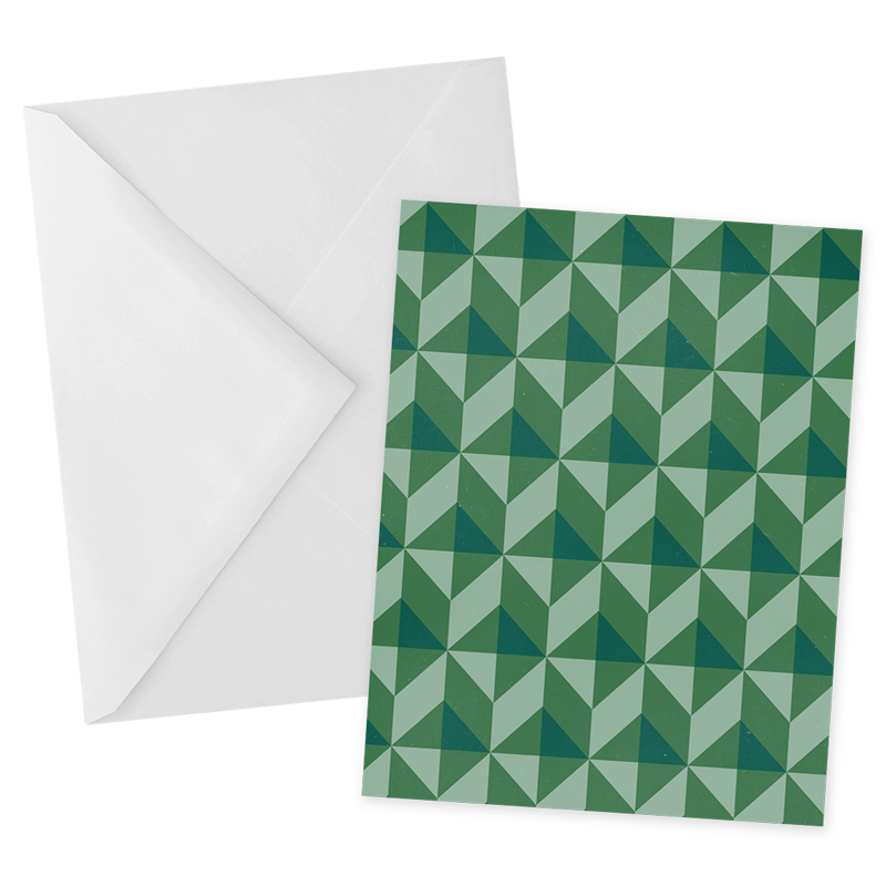 Green Geometric Notecard