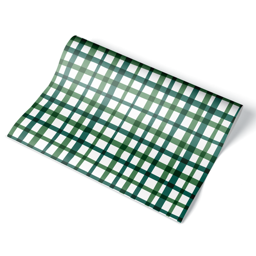 Green Plaid Wrapping Paper Sheet