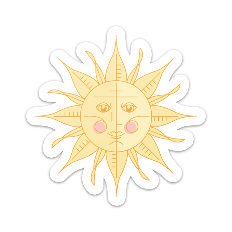 Sun Face Vinyl Sticker