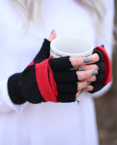 Stripe Fingerless Mittens