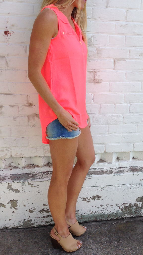Neon Coral Sleeveless Top