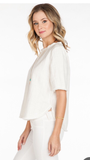 Frayed Linen Blouse