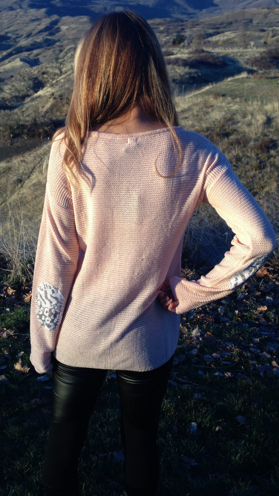 Peach Lace Elbow Patch Top