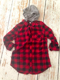 Red Hooded Flannel Shirt