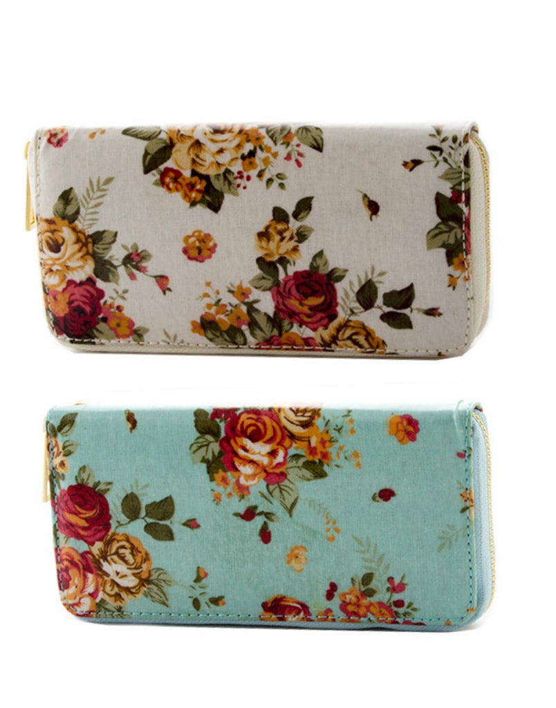 Floral Wallet (Turquoise and White)